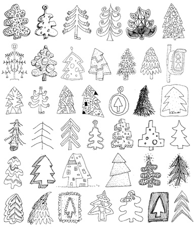 Christmas Trees Collection ... set of 40 different trees in black and white  Vector
