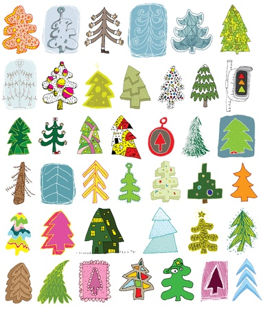 Christmas Trees Collection ... set of 40 different trees in colors Stock Vector - 17142705