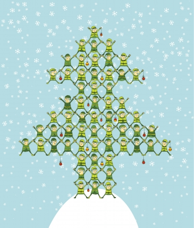 Many Elf Doing Christmas Tree on background with snowflakes  Vector