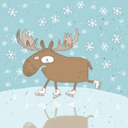 Funny Christmas Card ... Moose ice-skating on frozen lake with snowflakes  Vector