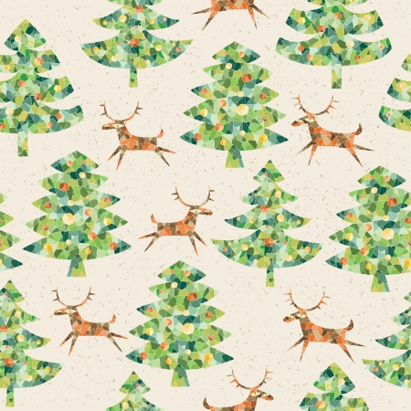 Christmas Trees Forest with Reindeer ... seamless pattern background with grunge texture  Vector