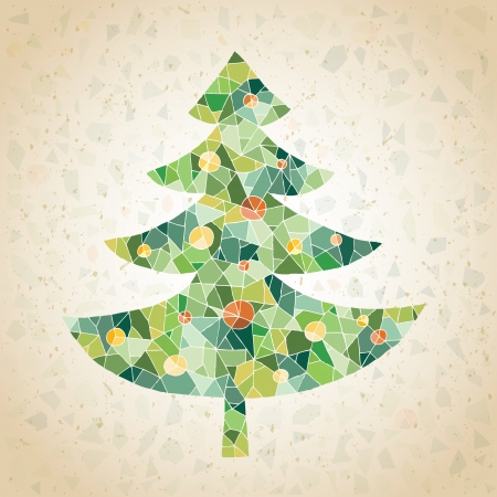 Christmas Tree Greeting Card ... made of small mosaic pieces in green colors, on gradient background Stock Vector - 17142768