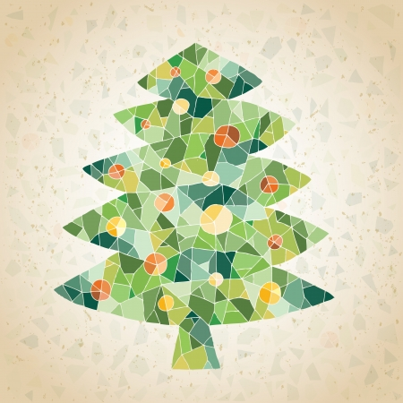 Christmas Tree Greeting Card ... made of small mosaic pieces in green colors, on gradient background  Vector