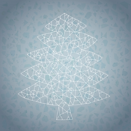 Christmas Tree Greeting Card ... made of lace-like structure on gradient background in blue Stock Vector - 17142810
