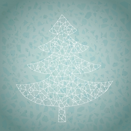 Christmas Tree Greeting Card ... made of lace-like structure on gradient background in blue  Vector