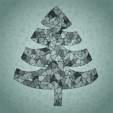 vitrage: Christmas Tree Greeting Card ... made of spider-web-like structure on gradient background in blue Illustration