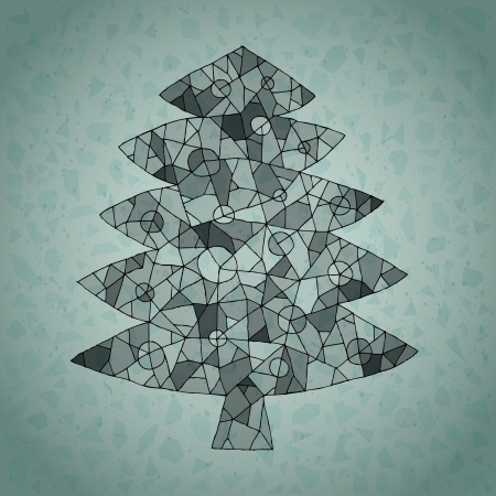 Christmas Tree Greeting Card ... made of spider-web-like structure on gradient background in blue Stock Vector - 17142892