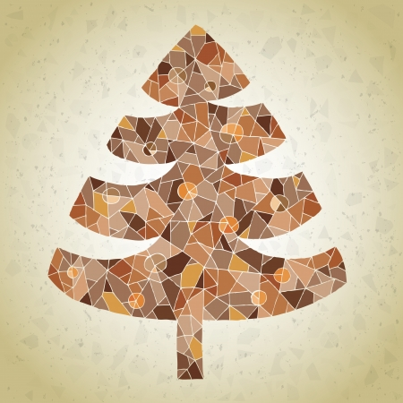 Christmas Tree Greeting Card ... made of small mosaic pieces in brown colors, on gradient backgroun Vector