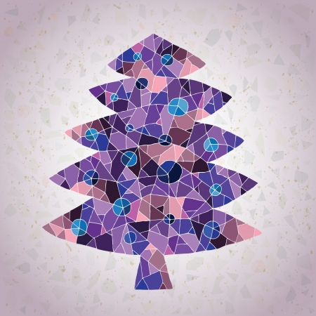 Christmas Tree Greeting Card ... made of small mosaic pieces in purple colors, on gradient background  Vector