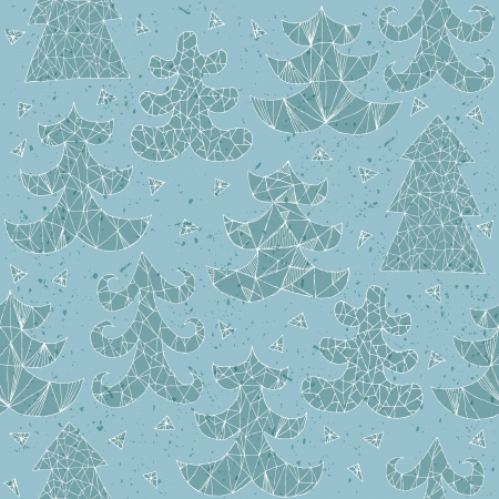 Christmas Trees Greeting Card ... Collection of different trees; seamless repeated pattern ... In blue!  Vector