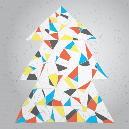 mondrian: Christmas Tree Greeting Card ... Grunge abstract illustration of christmas tree in modernistic manner on gradient background (Mondrian colors)  Illustration