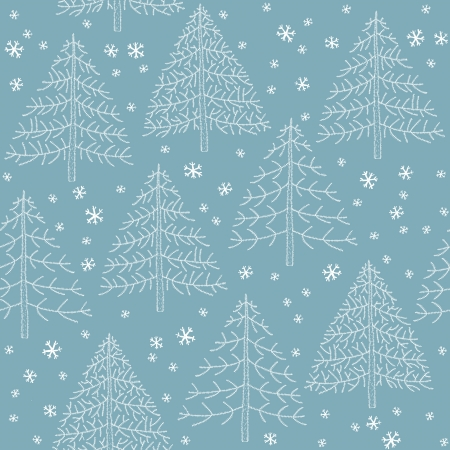 pine tree needles: Seamless hand drawn illustration (pattern) of Christmas trees with snowflakes on blue background