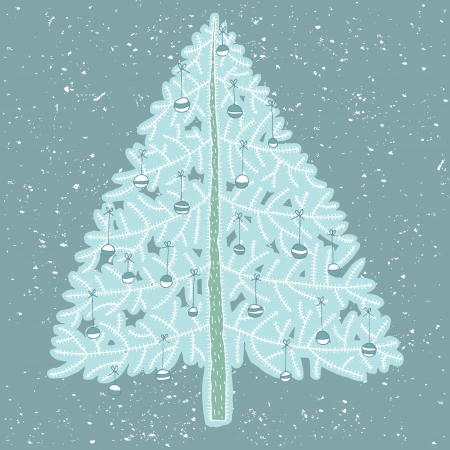 Hand drawn detailed grunge illustration of christmas tree No. 4  Vector