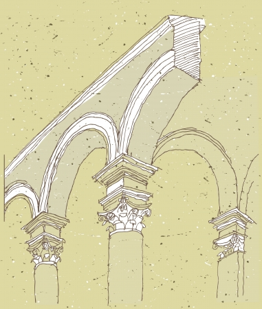 Sketching Historical Architecture in Italy: colonnade Stock Vector - 17142252