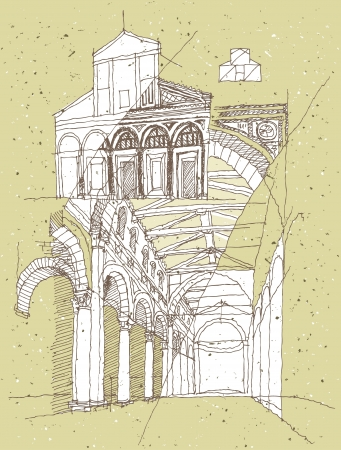 Sketching Historical Architecture in Italy: San Miniato Stock Vector - 17142463