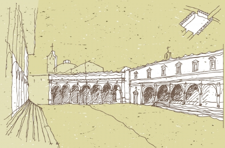 old square: Sketching Historical Architecture in Italy: Old Square Illustration