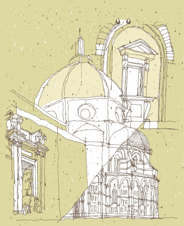 saint mary: Sketching Historical Architecture in Italy: Basilica of Saint Mary of the Flower  Illustration