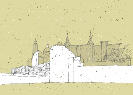 Sketching Historical Architecture in Italy  Urbino  Vector