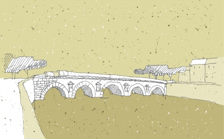 Sketching Historical Architecture in Italy  Bridge of Tiberius, Rimini Stock Vector - 17142262