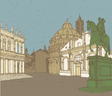 Composition of Italian Architecture  hand drawn illustration in colors