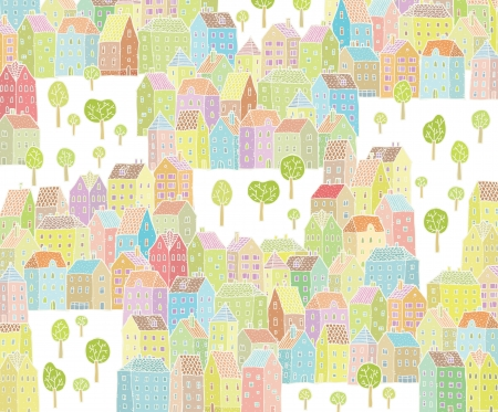 urban grunge: Vibrant City Illustration   with colourful houses and trees  Illustration