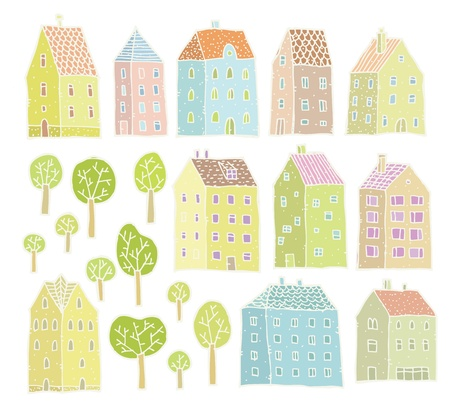 Houses and Trees collection  set of isolated elements  Vector