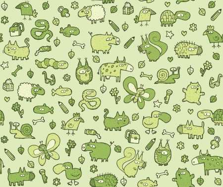 Animals Texture   seamless pattern for kids in green tones  Vector