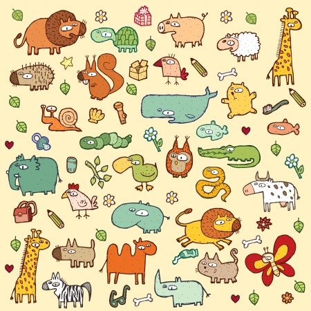 xl: Cute Animals SET XL in colors  Illustration