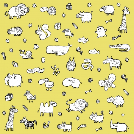 Cute Animals SET XL in black and white  Illustration