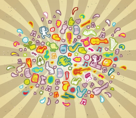 Music Cloud in colors  musical elements collection   Illustration