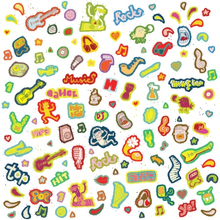 Music Doodle Collection of individual isolated elements  Vector