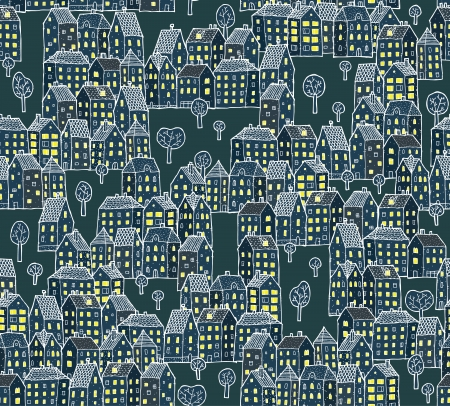Night City Illustration   seamless pattern  Vector