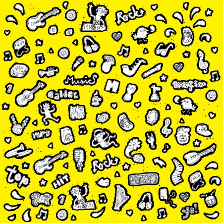 doodled: Doodled vector musical icons collection  Illustration