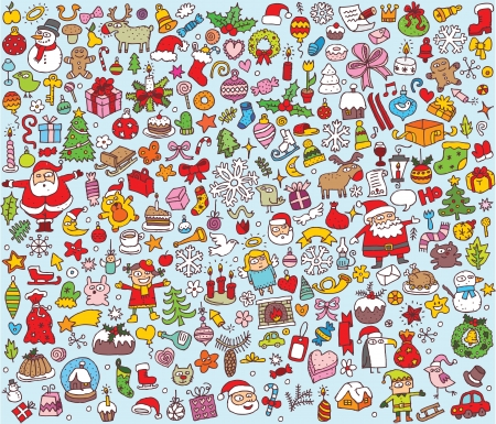 Big Christmas Collection of fine small hand drawn illustrations  Vector