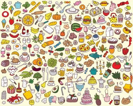 大的食品和廚房系列 向量圖像