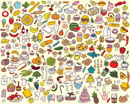 Big Food and Kitchen Collection  Vector