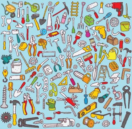 ツール コレクション: 手の多数のツール アイコンの描き下ろしイラスト