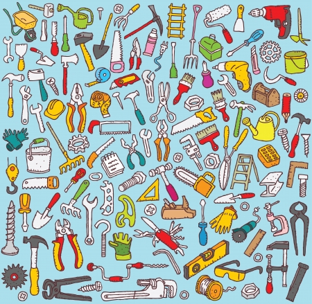 Tools Collection: hand drawn illustrations of numerous tool icons  Vector