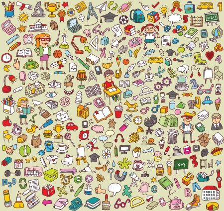 Big School Icons Collection: objecten, iconen, mensen ... Stock Illustratie