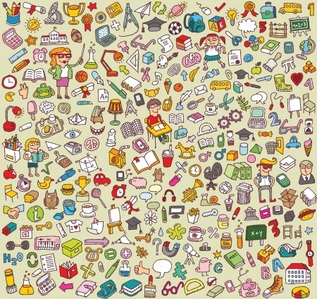 Big School Icons Collection: objects, icons, people ... 版權商用圖片 - 17142667