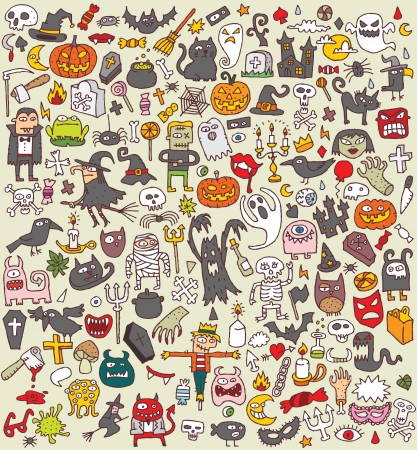 Big Halloween Collection of small hand drawn illustrations (icons)  Vector