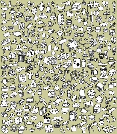 XXL Doodle Icons Set: verzameling van een groot aantal kleine handgetekende illustraties (in zwart-wit)