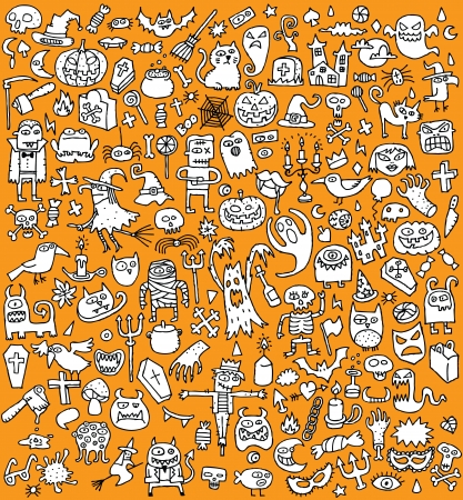 Big Halloween Collection of small hand drawn illustrations (icons) (in black and white)  Vector
