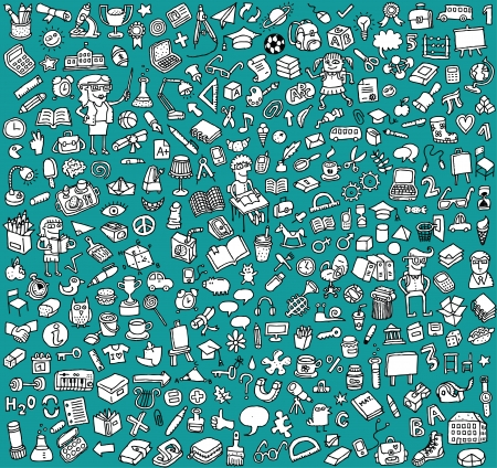 Big School Icons Collection: objecten, iconen, mensen ... (In zwart-wit)