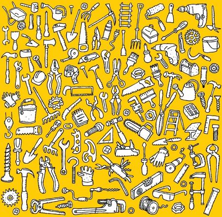 工具集手工繪製的眾多工具圖標的插圖在黑色和白色 向量圖像