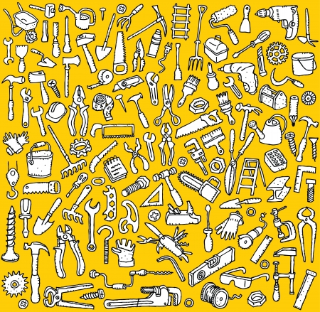 toolbox: Tools Collection  hand drawn illustrations of numerous tool icons  in black and white