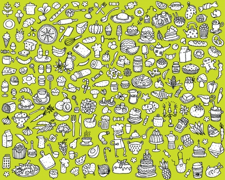 Big Food and Kitchen Collection  in black and white   Vector