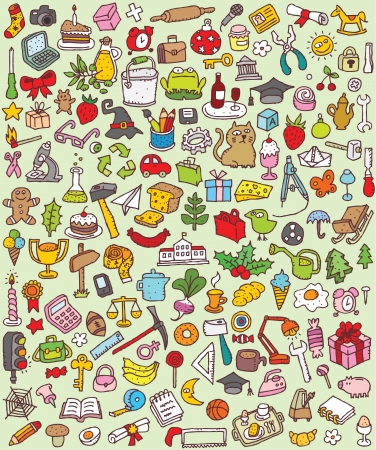 Big Doodle Icons Set   collection of numerous small hand-drawn illustrations  vignette    No  1 Stock Vector - 17142523