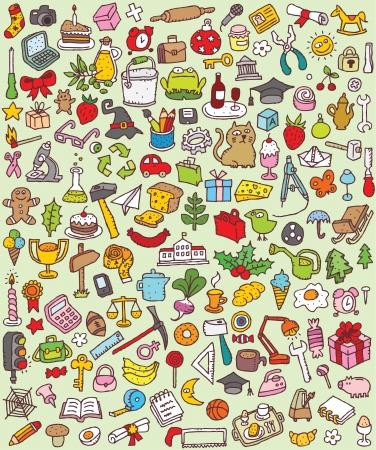 Big Doodle Icons Set Sammlung von vielen kleinen Hand gezeichnete Illustrationen Vignette Nr. 1 Illustration