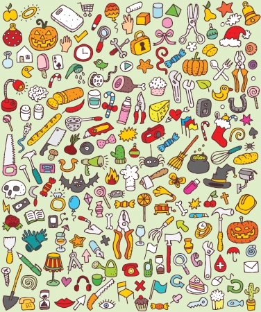 Big Doodle Icons Set Sammlung von vielen kleinen Hand gezeichnete Illustrationen Vignette Nr. 8